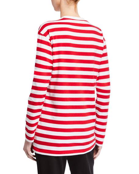 Striped Long-Sleeve Crewneck Tee