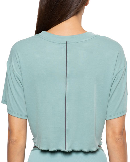 Crystal Cropped Tie-Front Tee