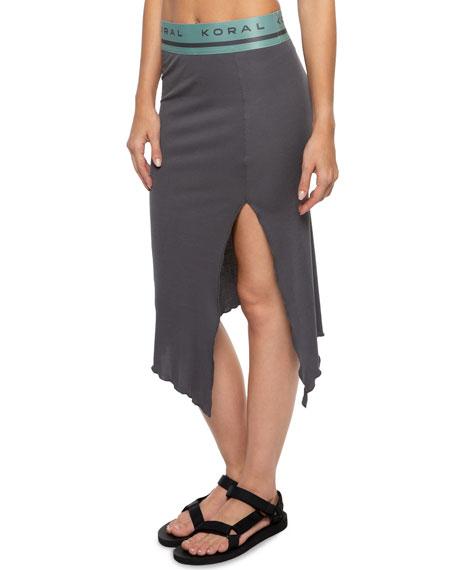 Stone Asymmetrical Skirt with Split