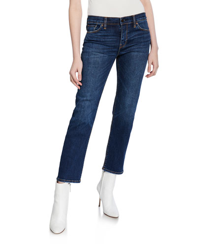 Nico Mid-Rise Cigarette Jeans w/ Side Stripes