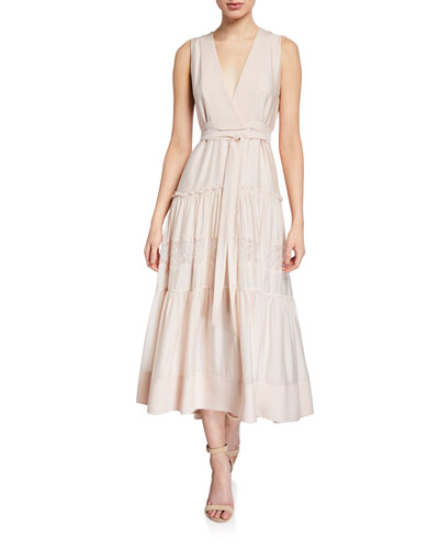 Sleeveless V-Neck Belted Dress with Lace