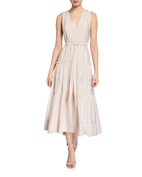 Image 1 of 1: Sleeveless V-Neck Belted Dress with Lace