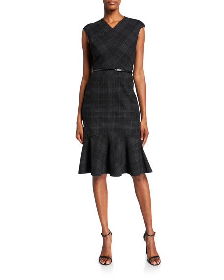 Kaitlyn Plaid V-Neck Sleeveless Dress