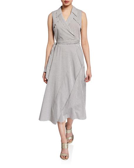 Charleigh Sleeveless Striped Wrap Dress