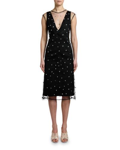 Crystal-Embellished Net Sleeveless Midi Dress