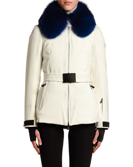Image 1 of 1: Ecrins Fur-Collar Belted Coat