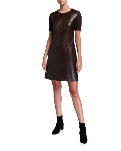Buffy Zip-Front Short-Sleeve Leather & Ponte Dress