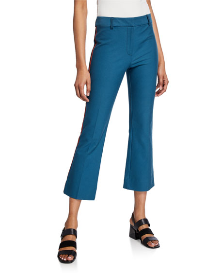 Cropped Flare Trousers with Ribbed Trim