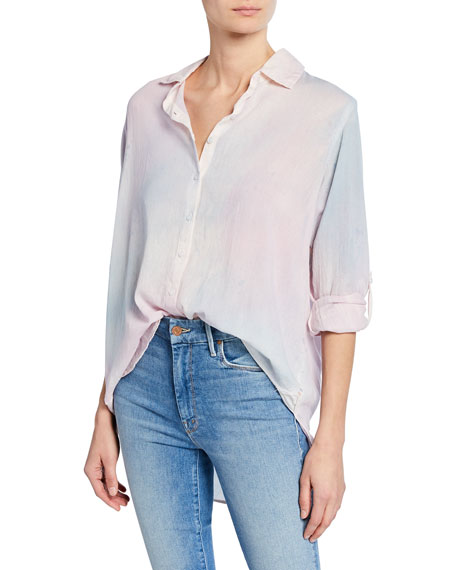 Image 1 of 1: Long-Sleeve Watercolor Oversized Shirt