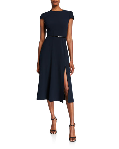 Image 1 of 1: Miciela Cap-Sleeve Belted Dress with Slit