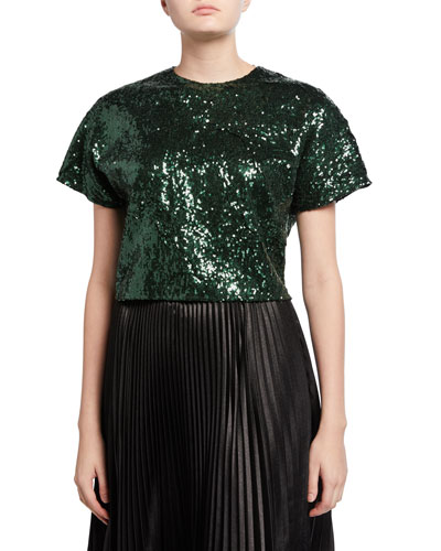 Sequined Cropped Short-Sleeve Top