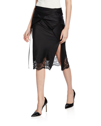 Draped Fold-Over Slip Skirt with Lace