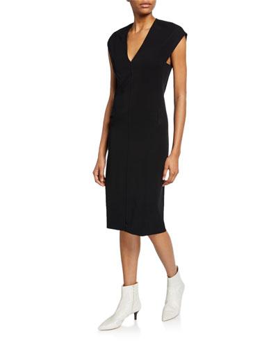 V-Neck Cap-Sleeve Pencil Dress