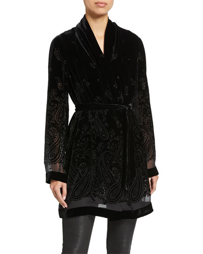 Coley Paisley Burnout Velvet Jacket