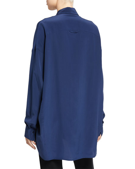 Oversized Button-Front Silk Blouse