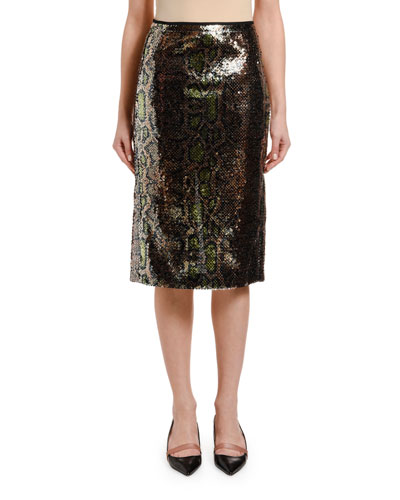 Leopard-Print Sequined Pencil Skirt