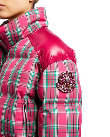 Chou Plaid Puffer Jacket w/ Contrast Shoulders