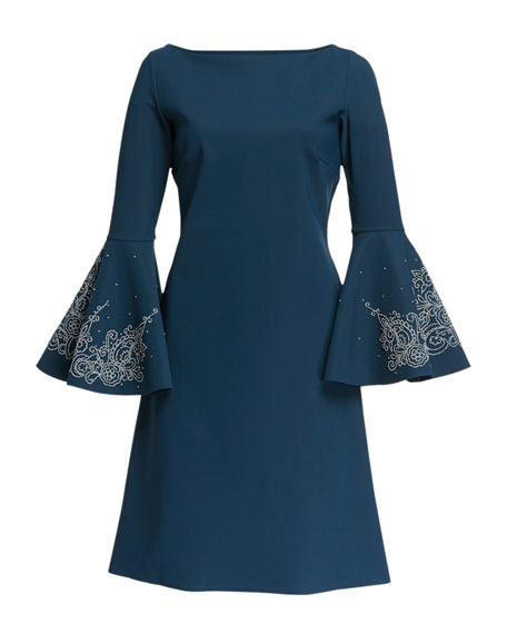 Natalia Bell-Sleeve Dress with Embroidery