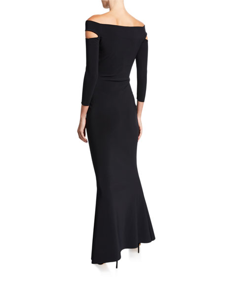 Off-the-Shoulder 3/4-Sleeve Dress with Cutouts