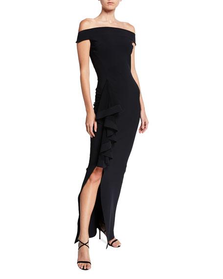 Banded Off-the-Shoulder Side Drape Column Gown with Slit