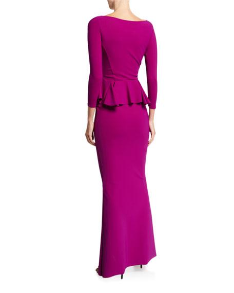 Bateau-Neck 3/4-Sleeve Peplum Column Gown
