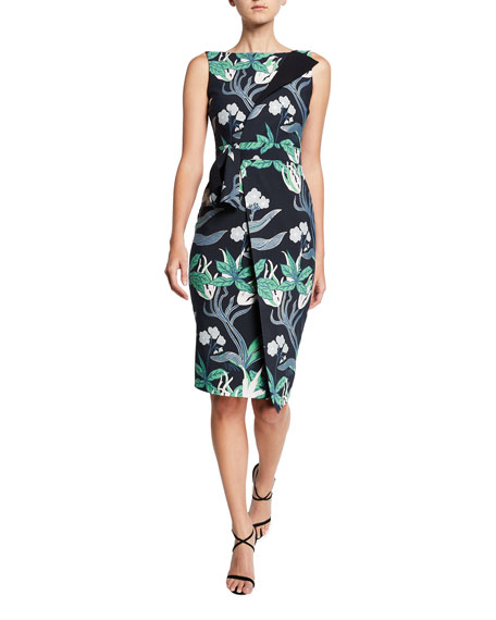 Floral Sleeveless Faux-Wrap Side-Drape Dress