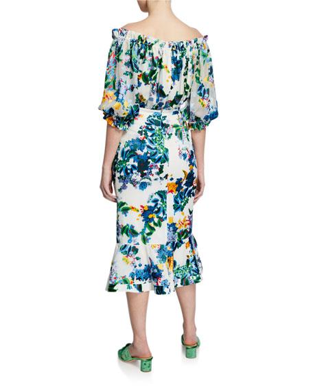 Olivia Velvet Burnout Midi Flounce Dress