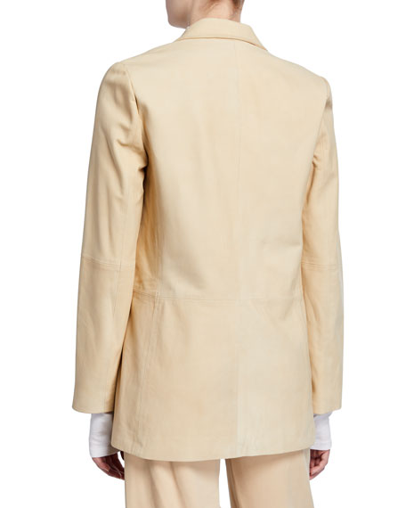 Nubuck Leather One-Button Blazer