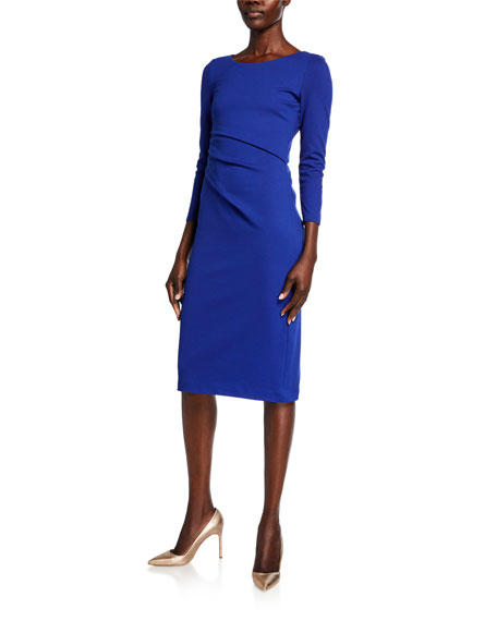 Image 1 of 1: Round-Neck Ruched Jersey Dress, Cobalt