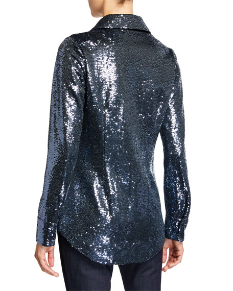 Isha Sequined Button-Down Top
