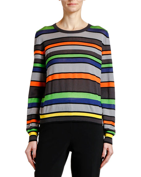 Image 1 of 1: Silk-Cashmere Striped Knit Sweater