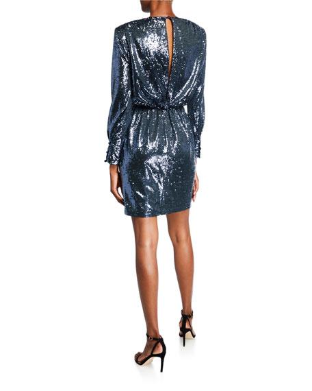 Skylar Sequin V-Neck Long-Sleeve Draped Dress