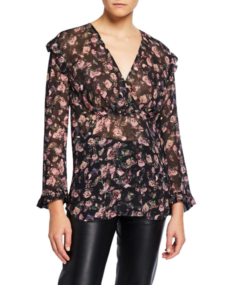 Image 1 of 1: Dolla Floral Ruffle V-Neck Top