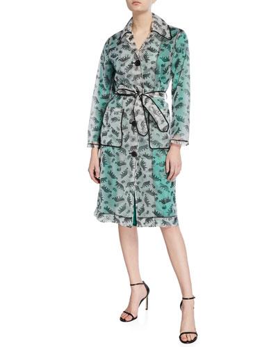 Jen Leopard-Print Trench Raincoat