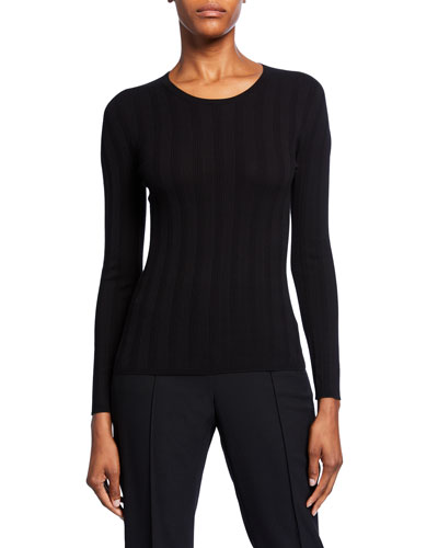 Long-Sleeve Ribbed Crewneck Top  Black