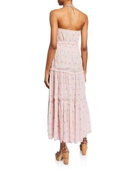 Bobbi Tiered Silk Charmeuse Floral Wrap Dress
