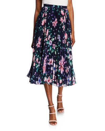 Floral Pleated Burnout Chiffon Midi Skirt