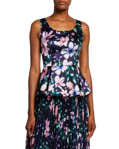 Floral-Printed Sleeveless Mikado Peplum Top w/ Cutout Back & Bow