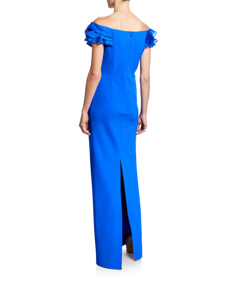Asymmetric Ruffle Off-Shoulder Cap-Sleeve Scuba Gown