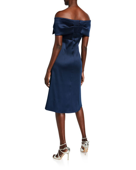 Bow Front Off-the-Shoulder Stretch Gazar A-Line Dress