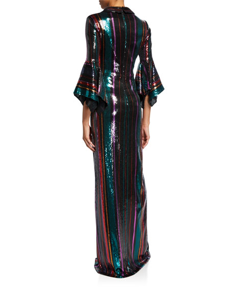 Disco Stripe Sequin Column Gown with Slit