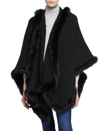 Kamala Oversized Poncho with Fur Trim