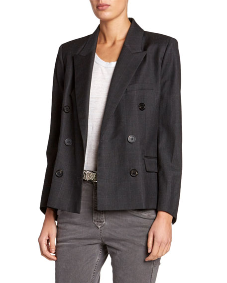 Visby Check Double-Breasted Blazer