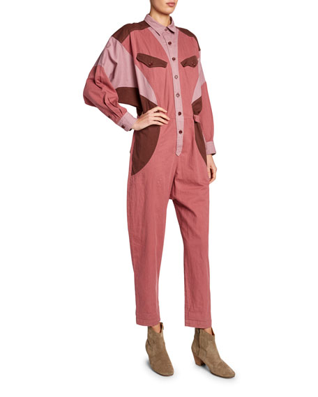 Image 1 of 1: Guan Colorblock Button-Front Jumpsuit