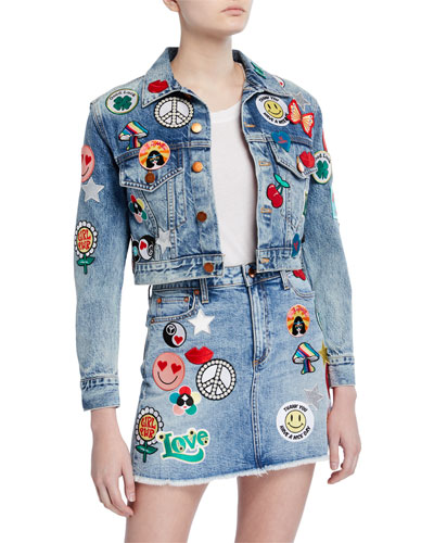 Cropped Boyfriend Jacket with Patches