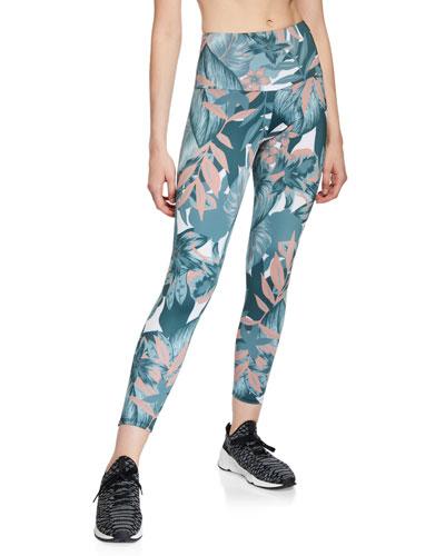 High-Rise Floral-Print Midi Leggings