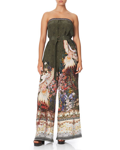 Strapless Wide-Leg Jumpsuit with D-Ring Belt