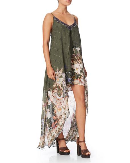 Flared Mini Dress with Sheer Overlay