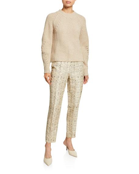 Siena Paneled Raw-Silk Ankle Pants