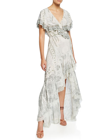 Frill-Sleeve Long High-Low Dress with Lace